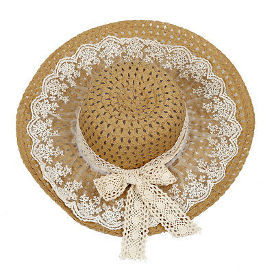 Khaki Chic Lace Bowknot Decorated Sun Hat For Women N4R7