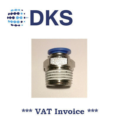 Male Stud Push In Fit Pneumatic Fittings Air 1/2 BSPT to 10mm Fitting  000562
