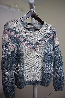 Pronto Thoroughbreds Linen Blend Hand Knit Multi-Colored Crewneck Sweater - Med