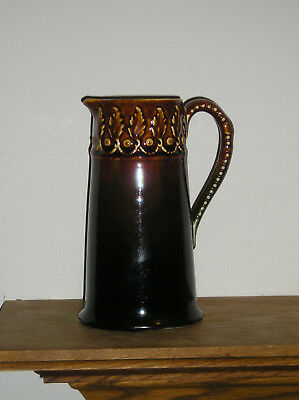 """Hampshire Pottery Brown Pitcher 8"""" J S Taft Perfect!"""