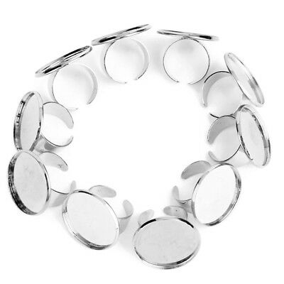 10pcs 25mm Diameter Adjustable Ring Holder - Silver Color Q5R6