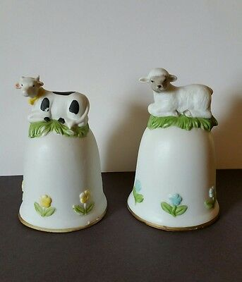 Lot of 2 Hand Bells Cow and Lamb w/Flowers