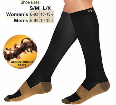 Compression Socks Long Miracle Copper Anti Fatigue Unisex Travel DVT Comfort
