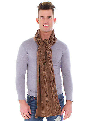 Men's Warm Knit Long Soft Warm Scarf Crochet Solid Scarves Wrap