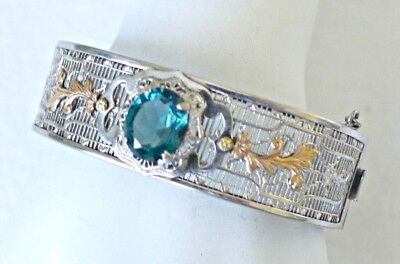 Vintage Art Deco Sterling Two Colored Silver Filigree Hinged Bracelet With Aqua