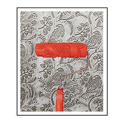 7 inch Embossed Painting Roller with Handle for Wall Decor - EG343T - Bird B4B6