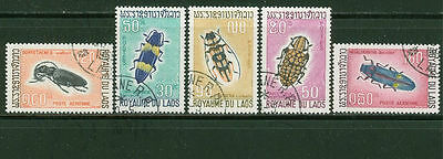 Laos 1968: #171-173, C54-C55 Insects Cancelled Set- Lot #11/30