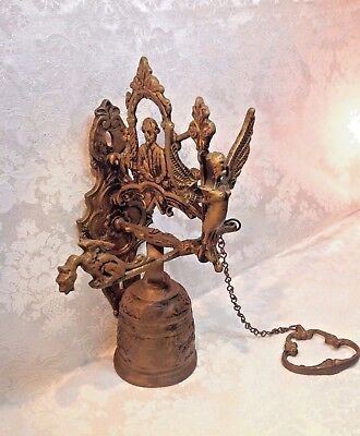 Vintage BRASS ORNATE DOOR KNOCKER / CALL BELL - ANGEL - WITH PULL CHAIN - 1040'S