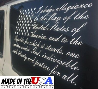 Pledge of Allegiance Vinyl Decal Sticker for truck car SUV RV boat made in USA