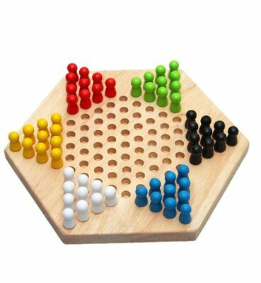 Traditional Hexagon Wooden Chinese Checkers Family Game Set J7V4