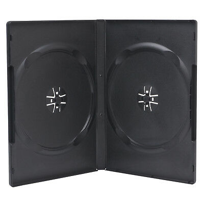 5 Premium Standard 14mm Black Double DVD Cases with Clear Overlay Holds 2 Disc