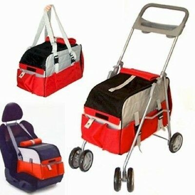 3-IN-1 PET STROLLER-converts from stroller to a hand-held carrier to a car seat