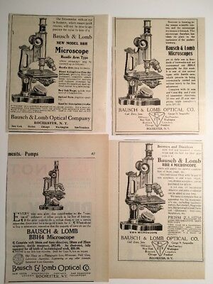 Lot Of 4 Diff Bausch & Lomb Microscope 1907 Ad Optical Laboratory Rochester NY