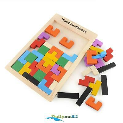 Colorful Wooden Tangram Brain Teaser Puzzle Tetris Game Educational Kid Toy Gift