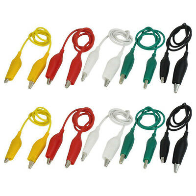 10Pcs 5-Colors Double Ended Alligator Clips Test Lead Jumper Wire 50cm Brand New