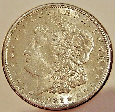 Authentic USA 1921  Morgan Silver One Dollar ( $1 ) Coin - Lustrous a.UNC