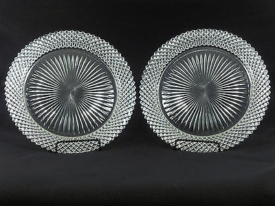 """Anchor Hocking Miss America Crystal CLEAR 10 1/4"""" DINNER PLATES - Set of 2"""