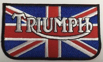 Embroidered  cloth patch ~ Triumph logo Union Jack.    B031004