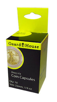 Guardhouse 1/4 oz American Gold Eagle 22mm Direct-Fit Coin Capsules -10 per Pack