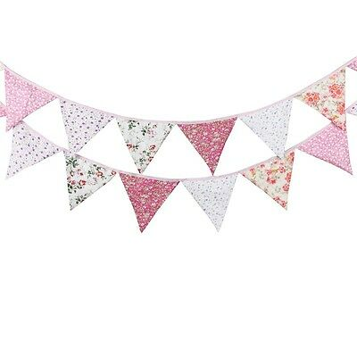 PINK Floral FABRIC Bunting Prop Wedding decoration Baby Nursery Party Vintage