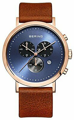 BERING Time 10540-467 Men's Classic Collection Watch with Leather Band and scrat