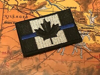 """Canada Thin Blue Line Police Patch - Velcro Backing - Tactical Subdued 2""""x1"""""""