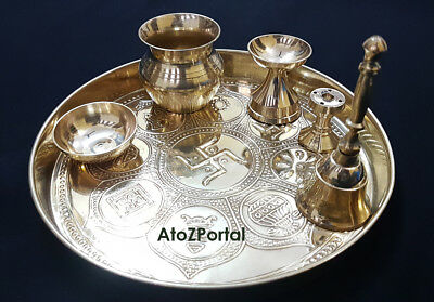 Gold Finished Plated Pooja Thali Sed With 6 Puja Item For Puja ReligiOus Gift & GOLD FINISHED PLATED Pooja Thali Sed With 6 Puja Item For Puja ...