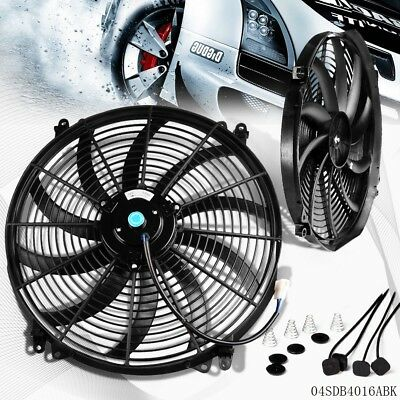 "Best 12v 16"" INCH Slim Thin Push Pull Radiator Cooling Electric Radiator Fan New"