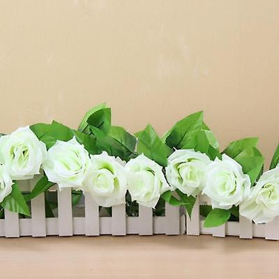 New 8Ft Fake Rose Garland Silk Flower Rattan Vine Ivy Home Garden Decor White GL