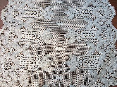 """Lot,antique Brussels? Lace New Old Stk On Roll,2 Yds X 22"""" Wide,wedding,doll"""