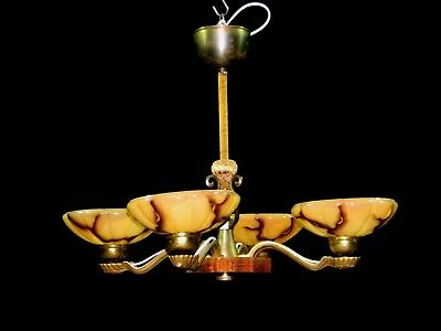 Antique Art Deco 100% Original Chandelier Ceiling Lamp Lighting Fixture 1930s