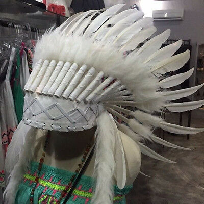 WAR BONNET head chief feathers leather WHITE native american indian NEW