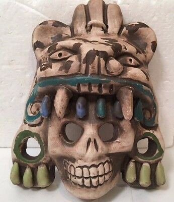 Mexican Folk Art Jaguar Skull Aztec Warrior Stone Hanging Mask Sculpture