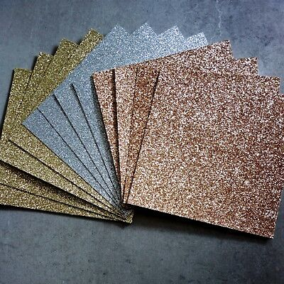 FANTASY GLITTER CARD CHRISTMAS ROSE GOLD SILVER GOLD 210 GSM 6x6 12 SHEETS - NEW