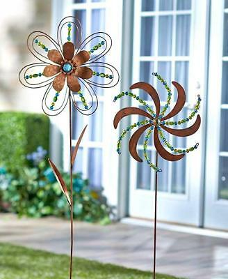 NEW Beaded Flower Pinwheel Metal Garden Stake Set Yard Art Home Decor