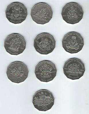 Full Set of 10 Circulated State 50 cent 2001 Centenary of Federation coins