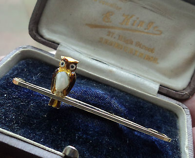 Vintage Attractive 15ct Gold & Enamel + Pearl OWL Brooch c.1900/10 in box