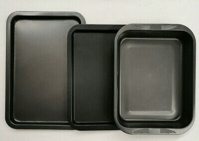 Get Goods Enjoying Baking Set Of 3 Oven Trays Non Stick Cooking Tins Sheets New
