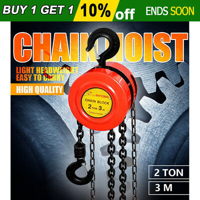 2 Ton Block and Tackle Chain Hoist 3M Chain Lifting Pulley Tool Load Crane New