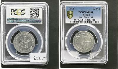10 Mark 1943  Polen / Getto Litzmannstadt Alu  fast prfr., kl. Flecken PCGS MS61