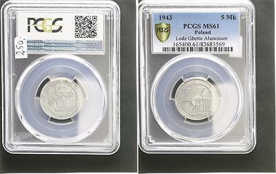 Getto Litzmannstadt 5 Mark Münze Aluminium fast prfr., kl. Flecken PCGS MS61