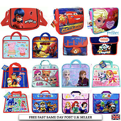 Kids Girls Boys Character Messenger Shoulder School Bag Book Cross Body Bag Pack