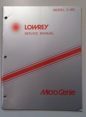 Original Lowrey Service Manual V-60 Micro Genie Keyboard- Schematics/Parts