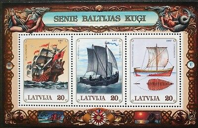 Baltic sailing ships stamp sheet, Latvia, 1997, 3 stamp set, SG ref: MS471, MNH