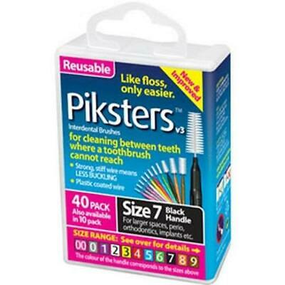 Piksters Interdental Brush - Size 7 Black 1.1mm - 40 Brushes Per Pack x 10 Pack