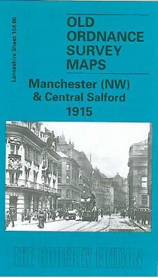 Old Ordnance Survey Map Manchester Nw Central Salford 1915 Lower Broughton