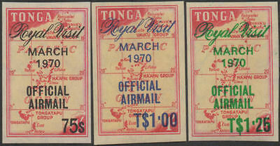 Tonga official 1970 SGO39-O41 Airmail Royal Visit set MNH