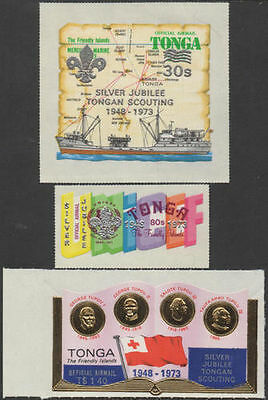 Tonga official 1973 SGO103-O105 Silver Jubilee of Scouting set MNH