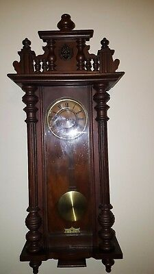 Antique Wooden Vienna Wall Clock Chimming