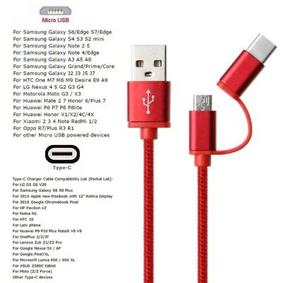 2In1 USB 2.0 Male To USB 3.1 Type C Micro USB Weave Data Fast Charging Cable New